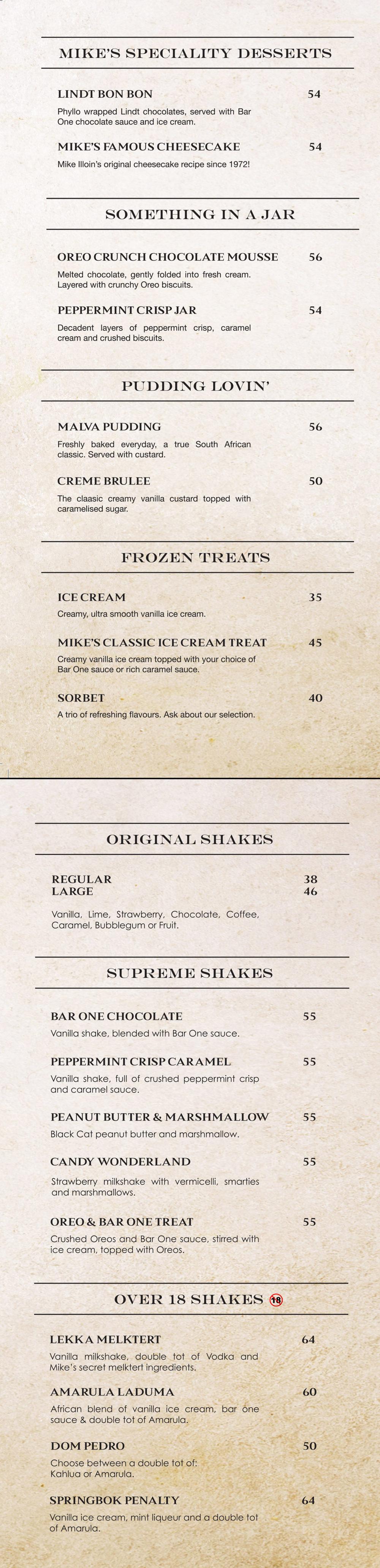 Mike's Kitchen Dessert Menu